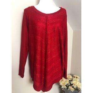 AGB Woman Red Metallic Long Sleeve Sweater